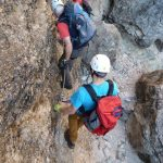 Ferrata Fanes Falls traverse downhill