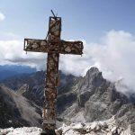 Ferrata Catinaccia Antermoia Summit cross