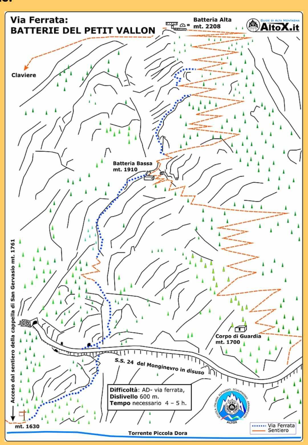 Ferrata Chaberton Mappa Altox