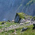 Italian Ferrata Mangart 26 stone behind nogara shelter
