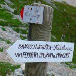 Italian Ferrata Mangart 29 signs for shelter nogara