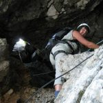 Ferrata Italiana Mangart 38 passaggio in grotta