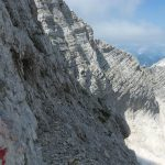 Ferrata Julia Canin 14 back via ferrata ledge