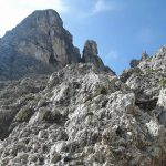 Ferrata Merlone aided stretch descent approach