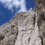 Ferrata Ombretta wall of the via ferrata