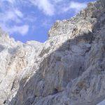 Ferrata Tissi 28 ascent wall of the via ferrata