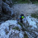 Ferrata Vandelli Return from Sentiero Brovedani first aided downhill section