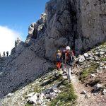 Mangart 11 Slovenian via ferrata after the gorge on the big ledge
