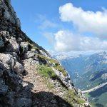Slovenian via ferrata Mangart 9 passage not aided ledge