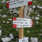 Signpost between Sentiero Aided Orsi and Ferrata Spellini