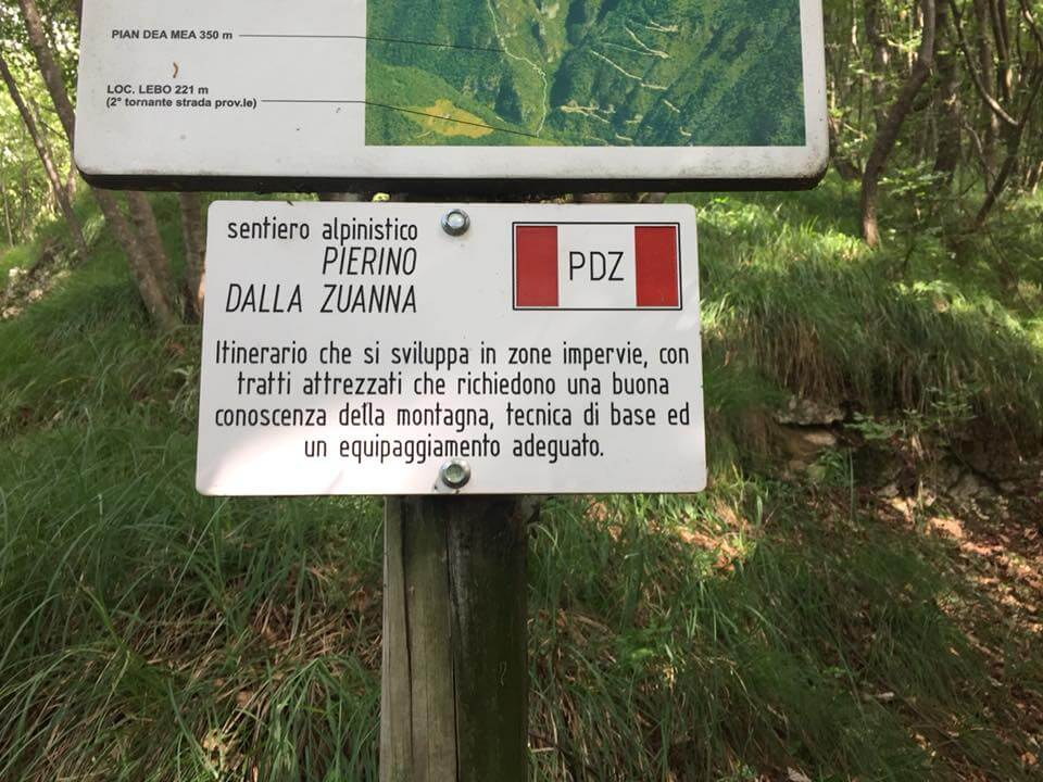 Sentiero Pierino Zuanna primo bivio 2